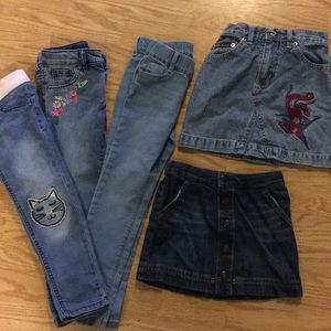 5 Lot of 4t girls jean skirts and jeans
